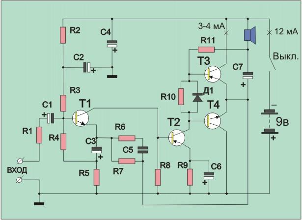 Транзисторы Т1, Т2, Т3 - ГТ402