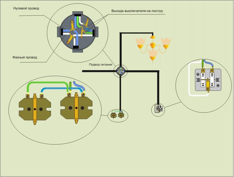 Схема розетки с 2 выключателями