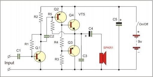 BC547,BC557 in amplifier with push-pull output
