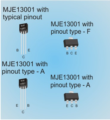 MJE13001 and 13001 transistors. Another option Pinout.